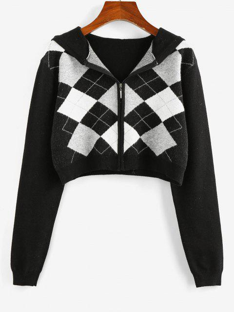 shops ZAFUL Plaid Hooded Zip Up Crop Cardigan - BLACK L Mobile