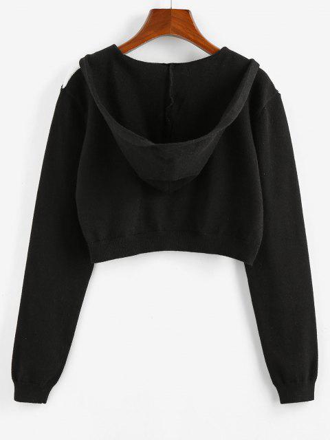 trendy ZAFUL Plaid Hooded Zip Up Crop Cardigan - BLACK S Mobile