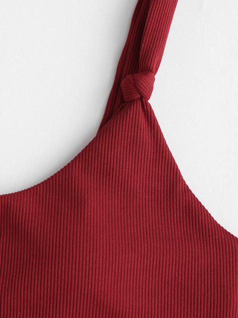 lady ZAFUL Ribbed Knot Dual Strap Tanga Bikini Swimwear - DEEP RED M Mobile