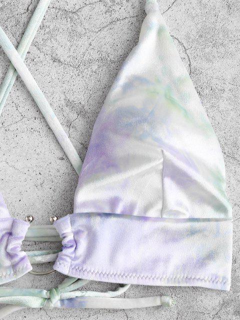 Bikini di Velluto di Tie-Dye con Lacci Incrociati di ZAFUL - Verde chiaro S Mobile