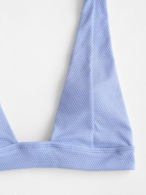 Costume da Bagno Bikini di ZAFUL a Taglio Alto con Scollo Profondo - Azzurro S Mobile