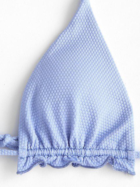 fancy ZAFUL Textured Lettuce Tie Side Tanga Bikini Swimwear - LIGHT BLUE M Mobile