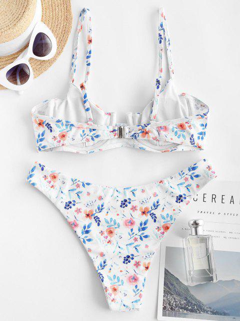 buy ZAFUL Flower Ribbed Underwire Brazilian Bikini Swimwear - WHITE L Mobile