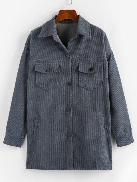 ZAFUL Corduroy Drop Shoulder Pocket Long Shacket - الرمادي الداكن XL Mobile