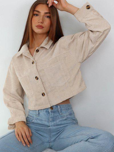 ZAFUL Corduroy Front Pockets Crop Jacket - Antique White M