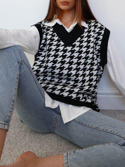 Houndstooth Stepped Hem Sweater Vest - Black L
