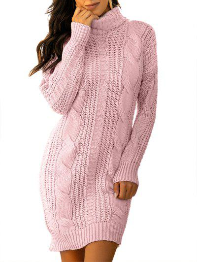 Turtleneck Cable Knit Chunky Sweater Dress - Light Pink