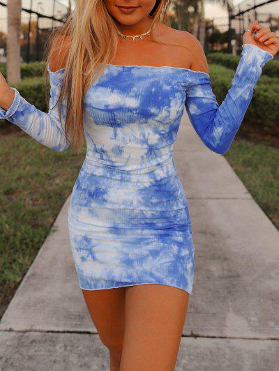 Tie Dye Lettuce-trim Ribbed Off The Shoulder Dress - Blue M