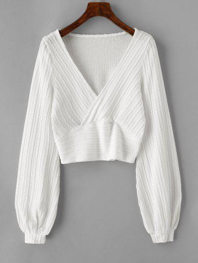 Cable Knit Surplice Cropped Knitwear - White L
