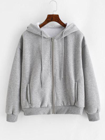 Heathered Zip Up Fleece Hoodie - Gray M