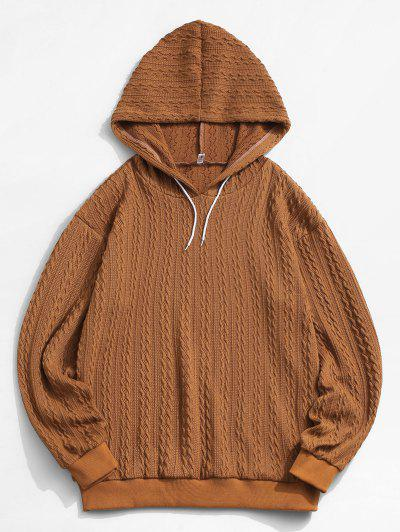 ZAFUL Drawstring Jacquard Hoodie Sweater - Coffee L