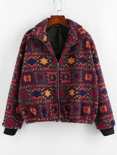 ZAFUL Tribal Geo Drop Shoulder Zipper Teddy Coat - Multi L