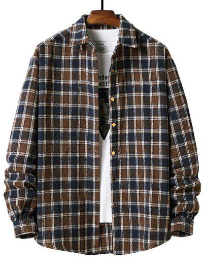Long Sleeve Plaid Pattern Flannel Shirt - Deep Coffee L