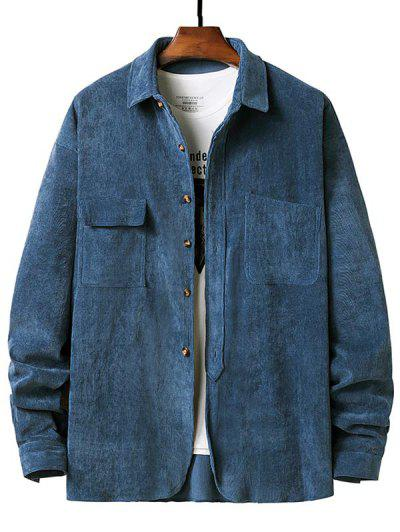 Double Pockets Button Up Ribbed Corduroy Shirt - Blue Xxl