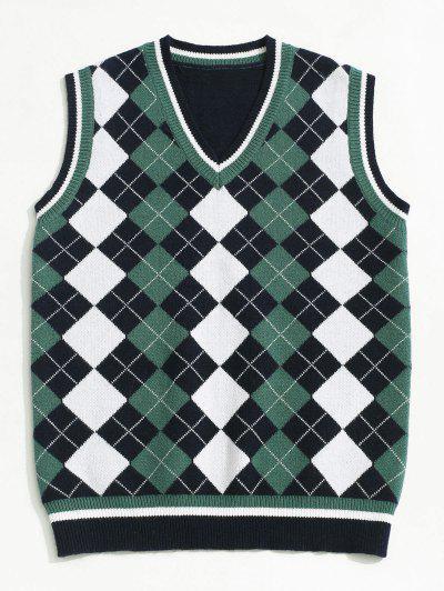 ZAFUL V Neck Contrast Argyle Sweater Vest - Deep Blue L