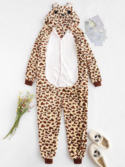 Fluffy Fleece Animal Leopard Onesie Pajamas - Coffee L