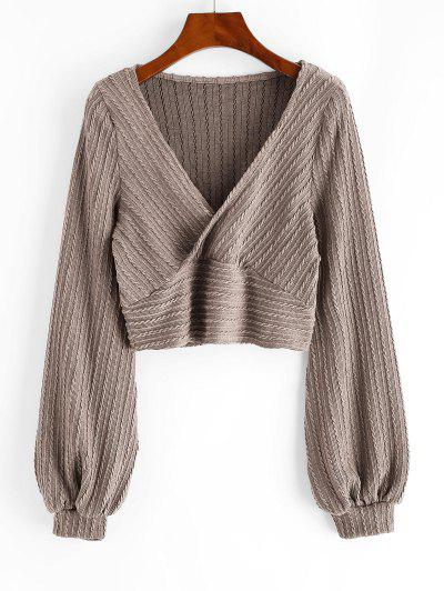 Cable Knit Surplice Cropped Knitwear - Camel Brown M