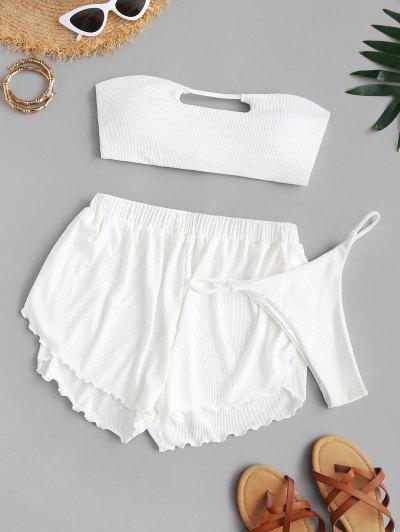 ZAFUL Ribbed Keyhole Bandeau Three Piece Bikini Swimsuit - White M