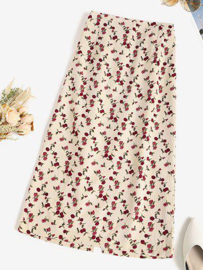 Floral Corduroy Pencil Skirt - Apricot