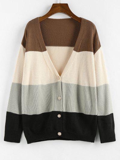 ZAFUL Color Blocking Drop Shoulder Plunge Cardigan - Multi S