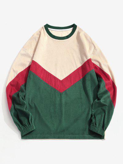 Colorblock Chevron Print Crew Neck Sweatshirt - Multi 2xl
