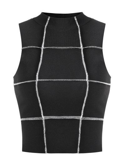 Cropped Exposed Seam Ribbed Tank Top - Black S