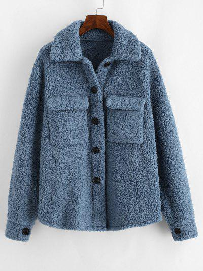 ZAFUL Flap Pockets Faux Fur Teddy Coat - Blue Gray M