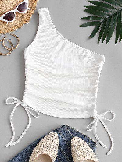 ZAFUL Cinched One Shoulder Ribbed Tank Top - White L