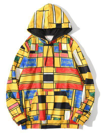 Jersey Sudadera Con Capucha Cordón Ajustable Diseño Geométrico Bolsillo - Amarillo Brillante M