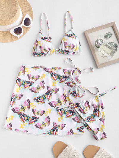 ZAFUL Cami Butterfly Print Three Piece String Bikini Swimwear - White M