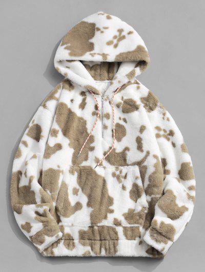 Cow Pattern Fluffy Half Zipper Hoodie - Tan L