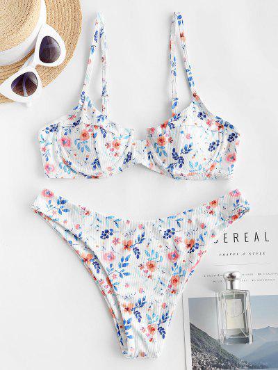 ZAFUL Flower Ribbed Underwire Brazilian Bikini Swimwear - White S