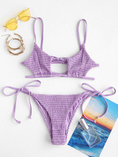 ZAFUL Keyhole Smocked String Bikini - Purple S