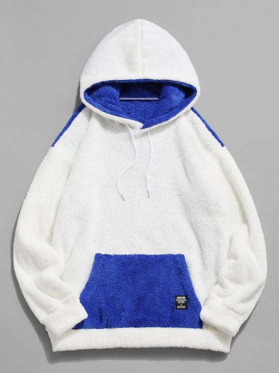 best ZAFUL Kangaroo Pocket Contrast Faux Fur Fluffy Hoodie - BLUE 2XL