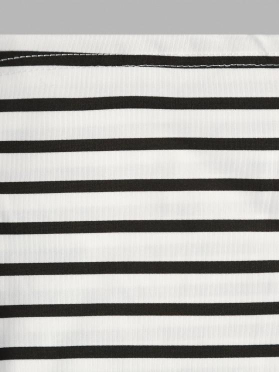 Spaghetti Strap Striped Trapeze Mini Dress - White S | ZAFUL