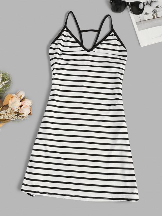 outfit Spaghetti Strap Striped Trapeze Mini Dress - WHITE M
