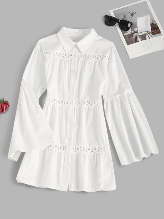 latest Bell Sleeve Crochet Lace Insert Shirt Dress - WHITE S