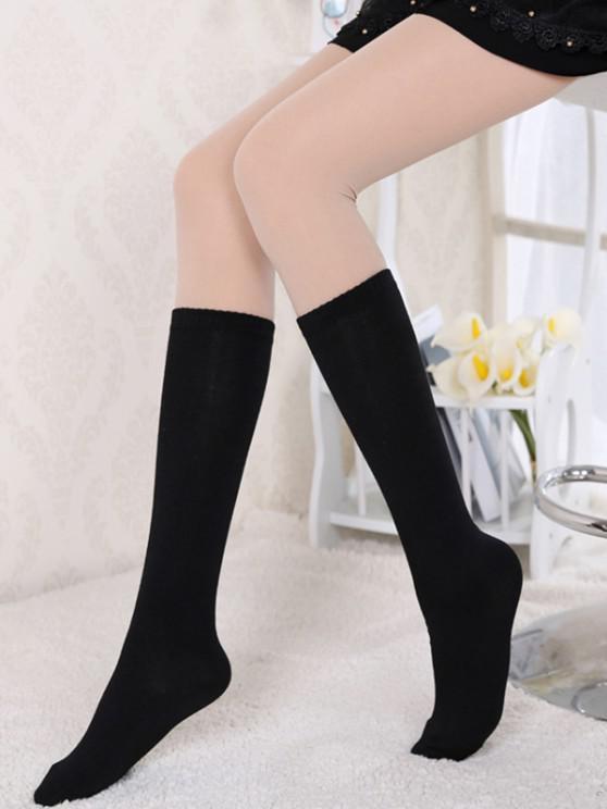 sale Solid Cotton Over The Knee Knee Socks - BLACK