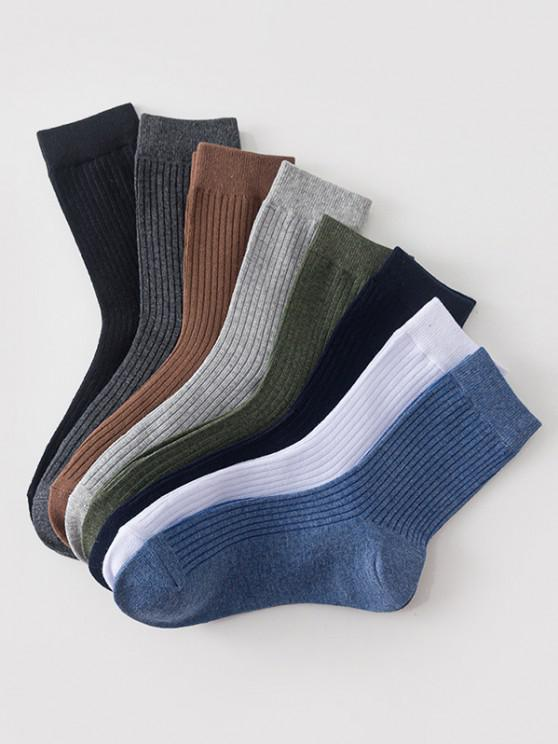buy 8 Pairs Classic Cotton Solid Socks Set - MULTI-A