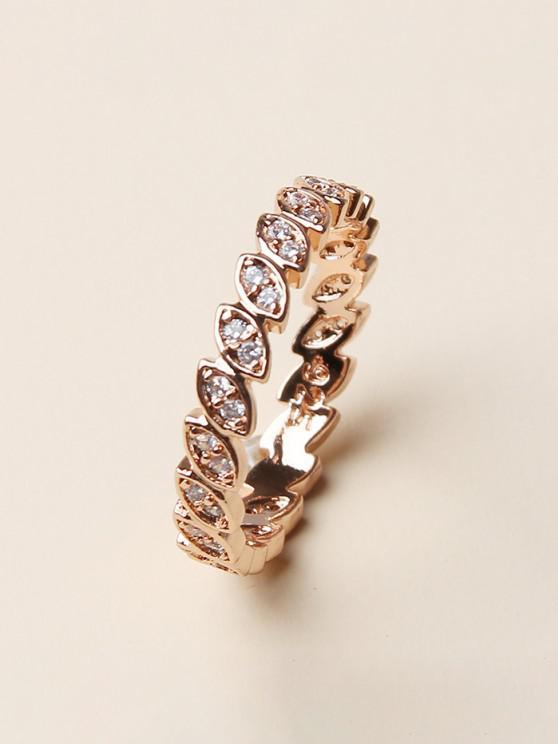 best Rhinestone Geometric Round Finger Ring - GOLDEN