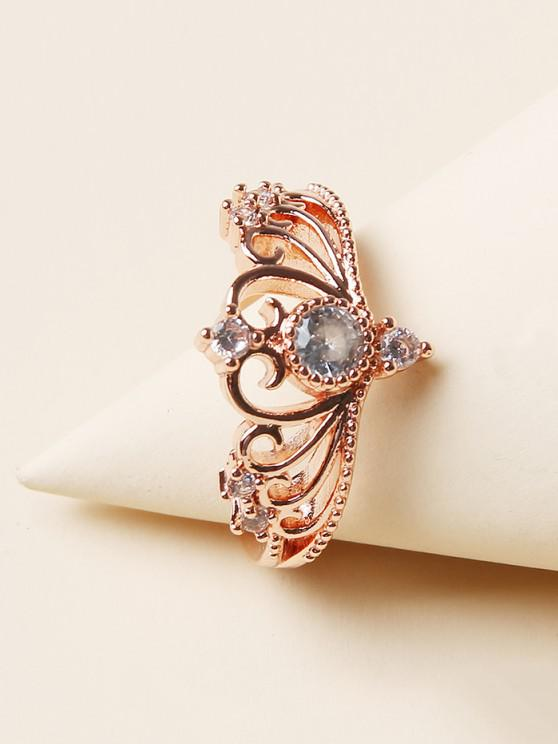 online Rhinestone Crown Shape Hollow Out Ring - GOLDEN