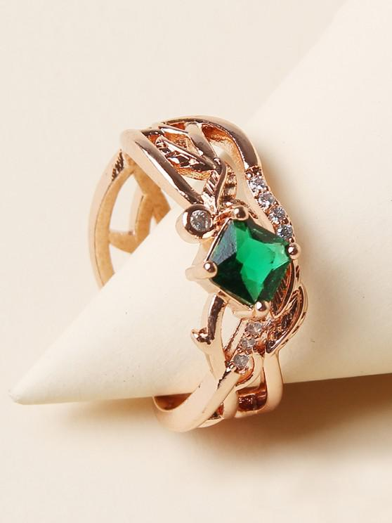 new Rhinestone Leaf Branch Pattern Hollow Out Ring - GOLDEN