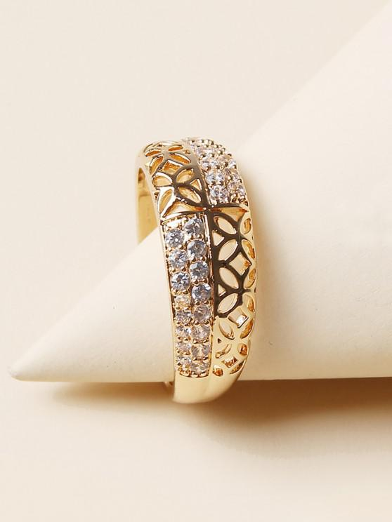hot Hollow Rhinestone Finger Ring - GOLDEN