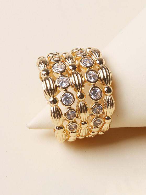 outfit Rhinestone Hollow Out Wide Band Ring - GOLDEN