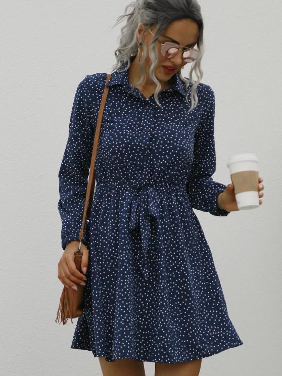 hot Dotted Button Front Tie Waist Long Sleeve Dress - DEEP BLUE S