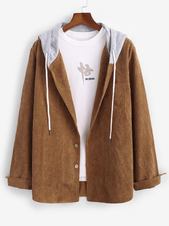 ZAFUL Corduroy Colorblock Hooded Shirt Jacket - قهوة L