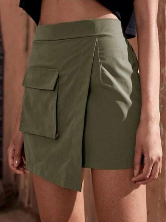 chic Flap Pocket Overlap Front Cargo Skirt - GREEN L