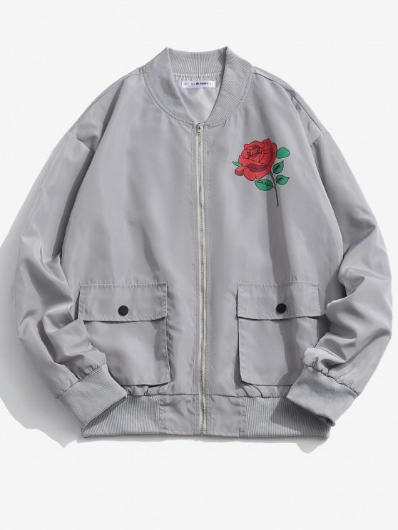 Rose Flower Pattern Flap Pocket Jacket - بلاتين M