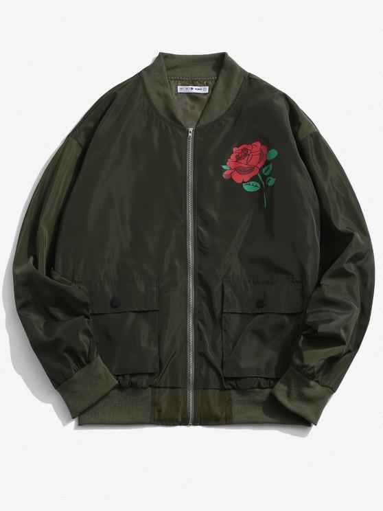 Rose Flower Pattern Flap Pocket Jacket - الجيش الأخضر M