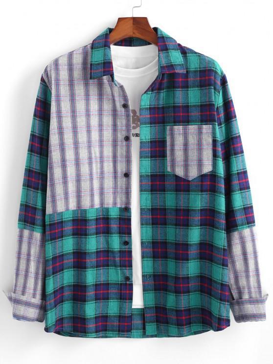 shop Colorblock Plaid Patchwork Pocket Long Sleeve Shirt - BLUE XL